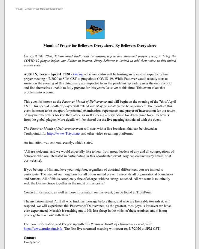 4 April 2020 Press Release Month of Prayer for Believers Everywhere by Believers Everywhere