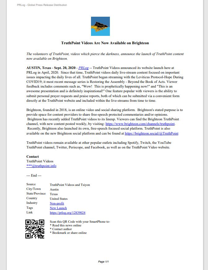 3 April 2020 Press Release New Website Truth Point Offering Video Live Streaming on Current Events